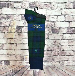 NWT MEN'S POLO RALPH LAUREN 2 PAIRS PLAID GREEN/BLUE SOCKS SZ XL