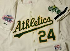 Rickey Henderson 1989 WS Oakland A's Athletics Authentic Rawlings Jersey Sz 44