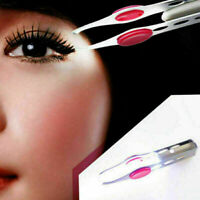 EYEBROW EYELASH TWEEZERS WITH Built-In LED LIGHT Hair Makeup 2 Removal Tool T7E1