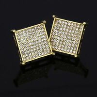 Mens 14k Gold Plated Cz Micro Pave TC Square Screw Back Iced Out 9 Row Earrings