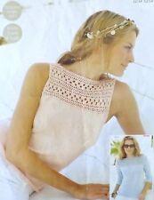 "Ladies Jumper/Sweater & Summer Top Vintage Knitting Pattern 32-54"" Bust DK S9004"