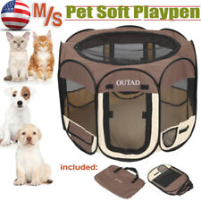 Pet Portable Play Pen Exercise Kennel Tent Dog Soft Playpen Cat Folding Cage USA