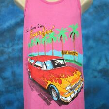vintage 80s TELL EM I'M SURFING CARTOON PAPER THIN TANK TOP T-Shirt M hot rod