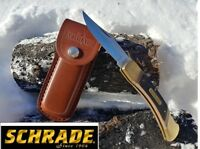 "8.6"" SCHRADE Old Timer Folding Pocket Knife 70T With Leather Sheath BRAND NEW"