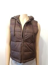 Old Navy Brown Puffer Vest With Hood Warm Sweater Lining Size small