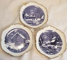 3 Vintage Blue /White decorative Currier and Ives Gold scalloped edge plates