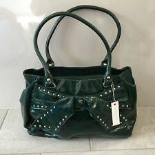 Suzy Smith Green Shoulder Bag RRP £65 Double Straps Medium Zip Closure Bow Front