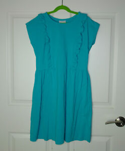 Girl's Hanna Andersson Short Sleeve Ruffle Playdress Turquoise Blue Size 150/12