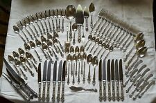 Meadow Rose, Watson Wallace Sterling Silver Flatware 89 Pieces + 3 piece carving