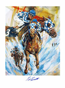 25%-45% OFF! SECRETARIAT Signed RON TURCOTTE Lithograph TRIPLE CROWN