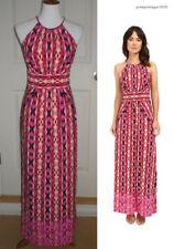 London Times Women's Petite Ikat Stripe Halter Pink Maxi Dress Size 4 Petite 4P