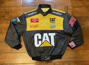 Ward Burton #22 CAT Racing Leather Race Jacket Mens Size Large NASCAR Rare JH