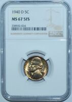 1940 D NGC MS67FS 5 Full Steps 5C Jefferson Nickel