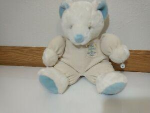 """VTG Russ Baby Teddy Bear Plush God Danced The Day You Were Born 14"""" Boy Blue"""