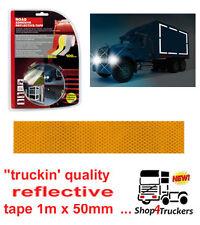 Truck lorry HGV trailer motorhome amber reflective tape yellow tape 1m x 50mm