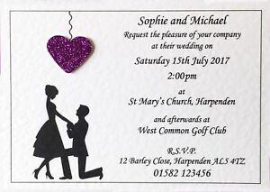 10 Personalised Wedding Invitations Day Or Evening Invites Inc Free Envelopes