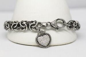 Judith Ripka Black Rhodium Byzantine Pave Heart Bracelet 925 Sterling Silver