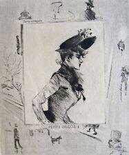 BOUTET, eau forte originale, (circa 1890), Paris croquis, dimensions de la feuil
