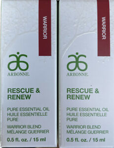 2x Arbonne Rescue And Renew Pure Essential Oil Warrior Blend 15ml +Box