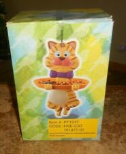 Pf-1047 whimsical ceramic and plastic cat hanging birdfeeder in the box new