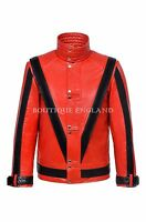 New Men's THRILLER Red Black Michael Jackson Style MUSIC Real Leather Jacket