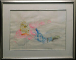 """Nelson """"Snowboarder"""" Original Watercolor on paper with black frame make an Offer"""
