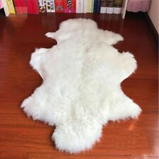 Luxury Genuine Sheepskin Fluffy Fur Rug Plush Windward Single 100% Natural Ivory