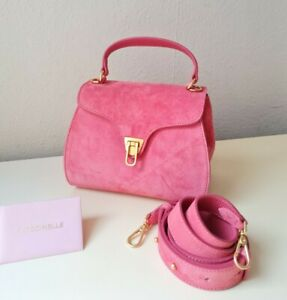 COCCINELLE Original Veloursleder Tasche Crossbody Minibag Umhängetasche Rosa Neu
