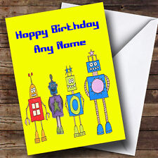 Yellow Robots Personalised Birthday Greetings Card