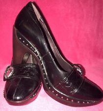 ☆Classic Womens Size(6) Black Stylish Crystal SlipOn Heels/Pumps/Shoes MaryJane☆