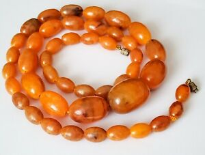 Vintage antique butterscotch amber coloured bead necklace not Bakelite 31 inches