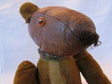 sehr alter Teddy, Teddybär, braun, Stoffkörper, Lederkopf, 28 cm