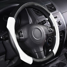 Universal Steering Wheel Cover Leather Anti-slip For Car TRUCK SUV White 38 cm