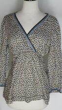 Boden Blue Olive Cotton Shirt Top Blouse UK 12 US 8 Velvet Ribbon Trim