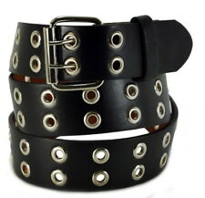 Double Silver Grommet 2 Holes Leather Belt 2-Prong buckle Unisex Mens Womens