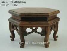 Chinese wood rosewood carved nice hexagonal display shelf stand c01