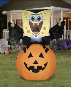 Spongebob Squarepants Dracula Vampire Halloween Airblown Inflatable 4.5' LED New