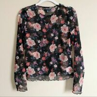 American Eagle Black Pink Mesh Floral Long Sleeve Top Womens Size Small
