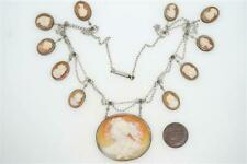 LOVELY ANTIQUE SILVER & CARVED SHELL GODS & GODDESS CAMEO NECKLACE c1890