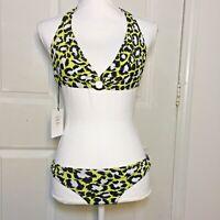 Diane Von Furstenberg Halter Bikini Swim Suit - Size M - Yellow Spotted Cheetah