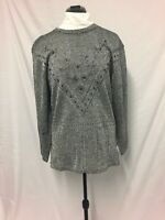 Mac Black and Silver thread Jumper size S/M Women casual work party holiday