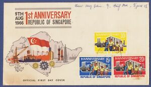 Singapore 1966 1st Anniversary First Day Cover Light Toning Used.