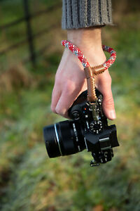 Wrist Camera Strap Red For Mirrorless Camera 42cm Handmade stitches leather