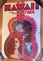 Vintage Original 1960's TWA Travel Poster David Klein Hawaii 25x37 NOT A REPRO