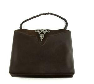 Vintage 1920s / 30s Brown Leather Handbag Bag  Steel Cut Clasp  Plaited Handle