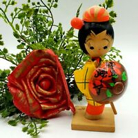 Vintage Japanese KOKESHI Doll Red Yellow Kimono Umbrella Wooden Japan Adorable