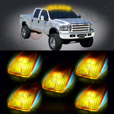 5x Cab Roof Top Ice Blue 5050 LED Lights Amber Lens Marker Running For Chevy GMC