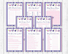 Pink & Purple Butterfly Baby Shower Games Pack - 8 Printable Games