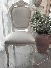 French Louis Style Shabby Chic Dining Bedroom Chair In Grey Laura Ashley Fabric