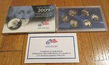 2009 U.S. Mint State Proof Quarters Territory Quarters Box COA